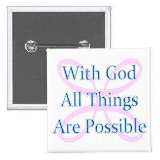 Con dios todas las cosas son botón posible pin cuadrado