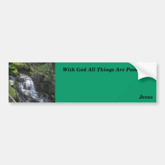 Con dios todas las cosas son posibles pegatina de parachoque