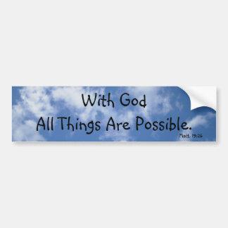 Con dios todas las cosas son posibles el cielo etiqueta de parachoque