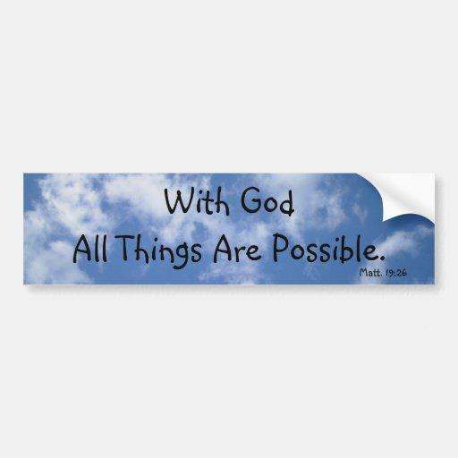 Con dios todas las cosas son posibles (el cielo) etiqueta de parachoque