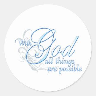 Con dios todas las cosas son posibles pegatina redonda