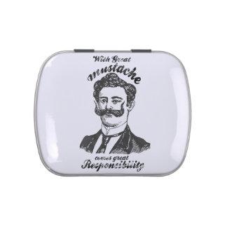 Con el gran bigote viene la gran responsabilidad latas de dulces