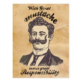 Con el gran bigote viene la gran responsabilidad tarjeta postal