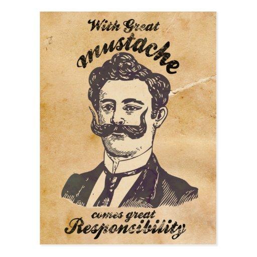 Con el gran bigote, viene la gran responsabilidad tarjeta postal