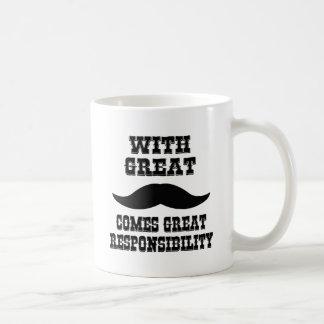 Con el gran bigote viene la gran responsabilidad tazas de café