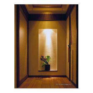 con el interior y la flor del Japonés-estilo Tarjetas Postales