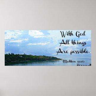 Con el poster de dios