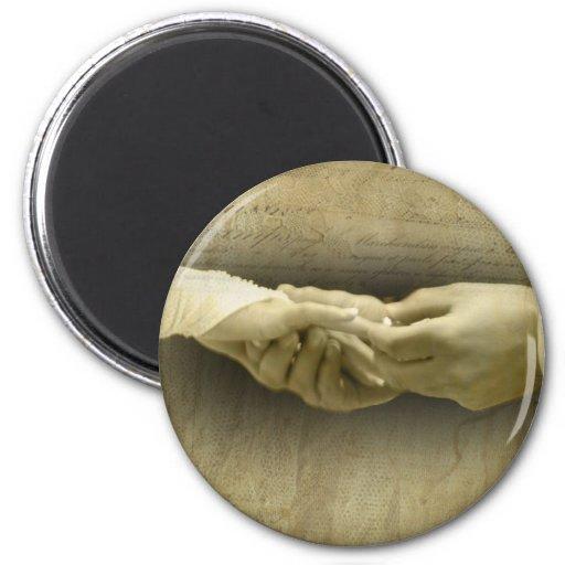 Con este anillo, amor romántico del boda del vinta imán para frigorifico