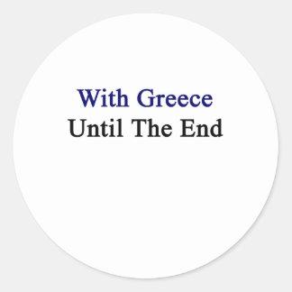 Con Grecia hasta el extremo Pegatina Redonda