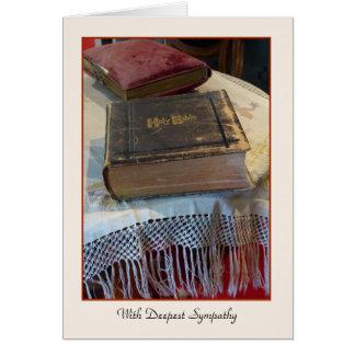 Con la condolencia más profunda biblia del tarjeta