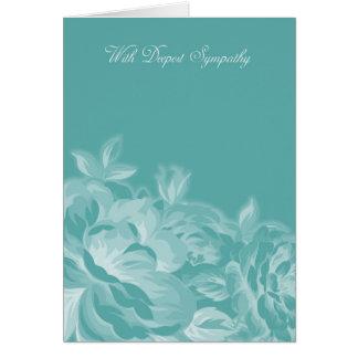 Con la condolencia más profunda en floral azul y tarjeta de felicitación