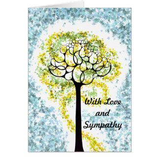 Con la tarjeta del árbol del amor y de la condolen