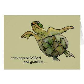 Con la tortuga de mar verde del moreno de tarjeta de felicitación