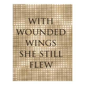 Con las alas heridas ella voló el estímulo plantillas de membrete