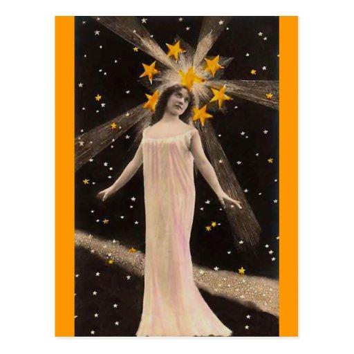 Con las estrellas en su cabeza postales