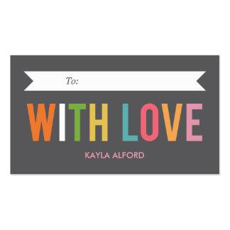 Con las etiquetas de encargo del regalo del amor tarjeta personal