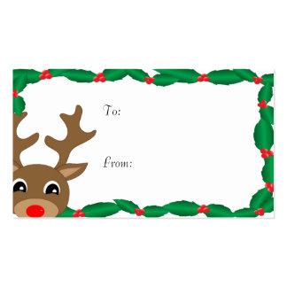con las etiquetas del regalo del acebo tarjetas de visita