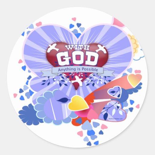 Con los corazones de dios pegatina redonda