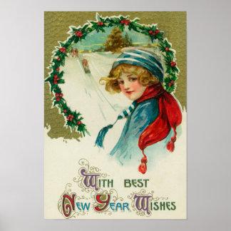 Con los mejores deseos del Año Nuevo Sledding esce Póster