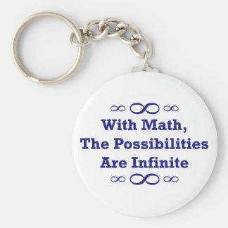 Con matemáticas, las posibilidades son infinitas llavero redondo tipo pin