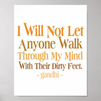 Con mi cita Gandhi de la mente Póster