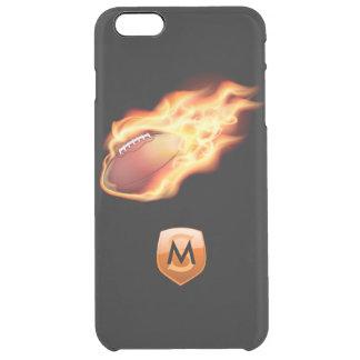 Con monograma adaptable negro llameante del fútbol funda clear para iPhone 6 plus