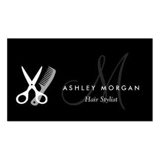 Con monograma blanco negro - Hairstylist del salón Plantillas De Tarjetas Personales