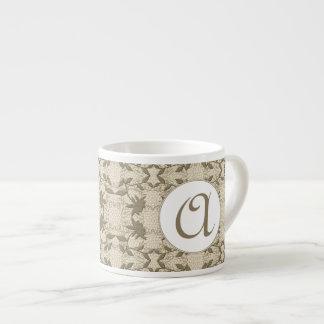 Con monograma bonito de color topo y blanco taza espresso