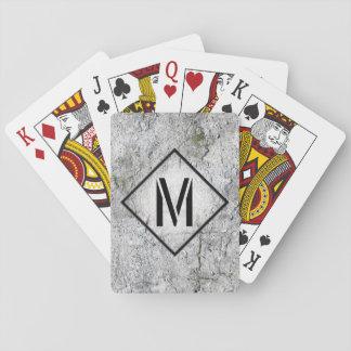 Con monograma concreto gris fotorrealista cartas de póquer