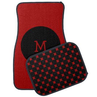 Con monograma de los puntos rojos y negros alfombrilla de auto