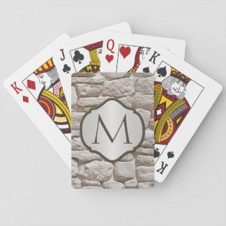 Con monograma de piedra natural fotorrealista baraja de cartas