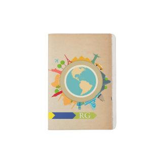 Con monograma del World Travel personalizado Porta Pasaporte