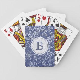 Con monograma floral azul y blanco del vintage barajas de cartas