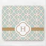 Con monograma marroquí del azul y del oro de la cá tapetes de raton