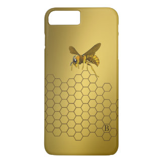 Con monograma personalizada abeja de la colmena funda iPhone 7 plus