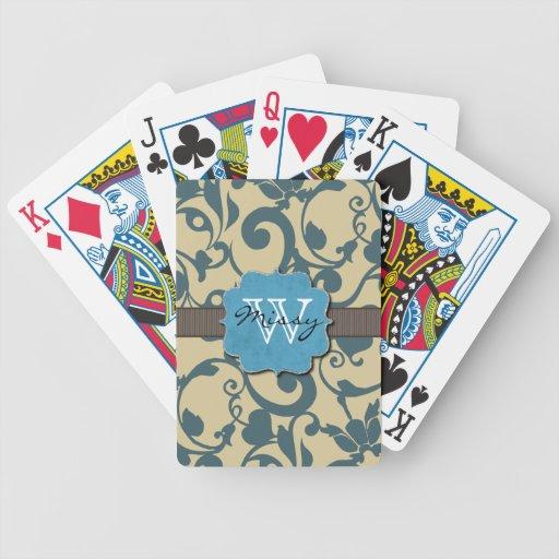 Con monograma resistida azul barajas de cartas