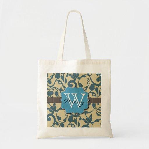 Con monograma resistida azul bolsas de mano
