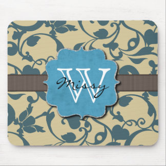 Con monograma resistida azul mouse pads