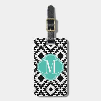 Con monograma tribal azteca elegante negro y blanc etiqueta para equipaje