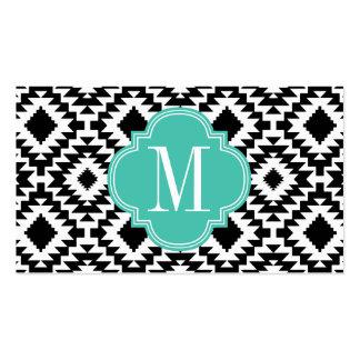Con monograma tribal azteca elegante negro y blanc tarjetas de visita