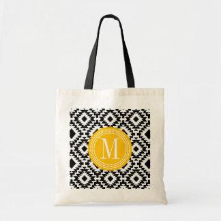 Con monograma tribal azteca elegante negro y bolsa tela barata