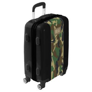 Con monograma verde camuflada personalizado maletas