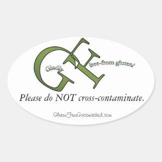 Con mucho gusto el gluten libera calcomanía ovaladas personalizadas