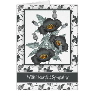 Con negro elegante de la condolencia y amapolas tarjeta de felicitación