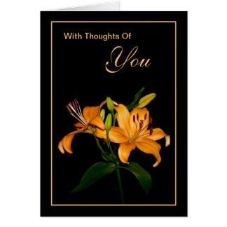 Con pensamientos de usted tarjeta de felicitación