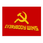 ¡Con socialismo todos gana! Sátira del gobierno Tarjeta Postal