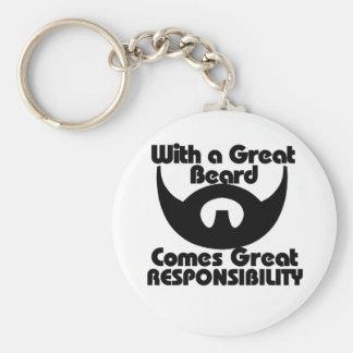 Con una gran barba viene el gran resposibility llavero redondo tipo pin