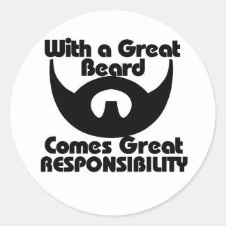 Con una gran barba viene el gran resposibility etiquetas redondas