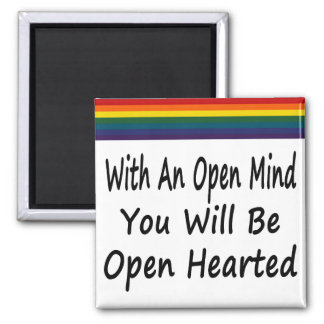 Con una mente abierta usted será Hearted abierto Imán Cuadrado