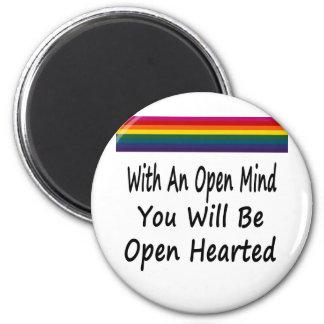 Con una mente abierta usted será Hearted abierto Imán Redondo 5 Cm